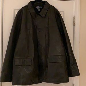 Polo Ralph Lauren Black Leather Lined Coat size XL